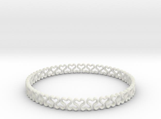 Bracelet heart  in White Natural Versatile Plastic