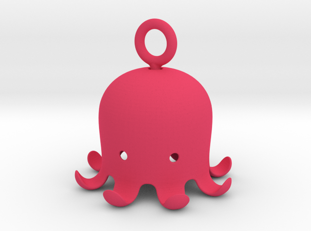 Octopus Pandant in Pink Processed Versatile Plastic