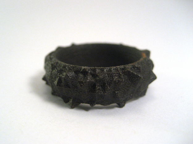 Facets Ring (Size 7) in Matte Black Steel