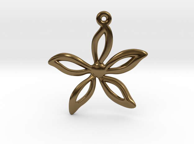Flower pendant in Polished Bronze