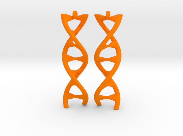 DNA Earring in Orange Processed Versatile Plastic