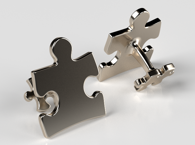 Puzzle Cufflinks Inverted in Fine Detail Polished Silver
