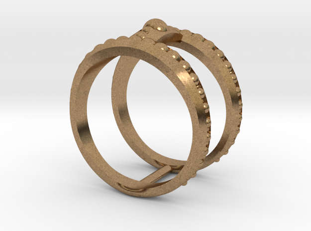 Double Ring Size 7 in Natural Brass