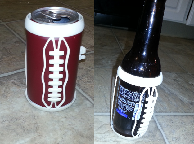 Football Laces Koozie in White Processed Versatile Plastic