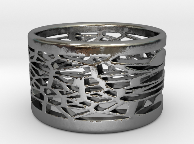 Bracelet medium voronoi 1 in Polished Silver