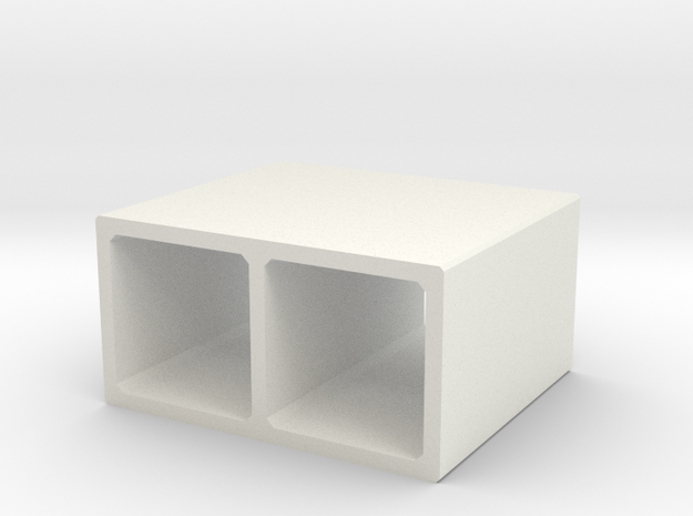 H0 Box Culvert Double Tube (size 2) in White Natural Versatile Plastic