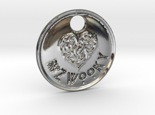 ZWOOKY Style 92 Sample - keychain heart in Fine Detail Polished Silver