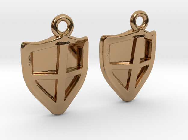Shield Earrings in Polished Brass