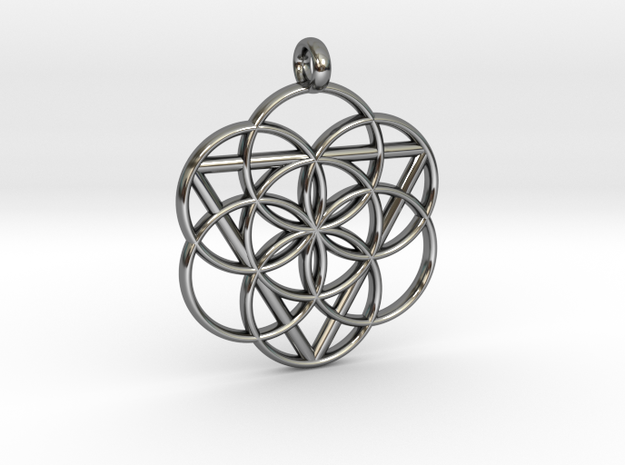 FEMININE SEED OF LIFE PENDANT  in Fine Detail Polished Silver