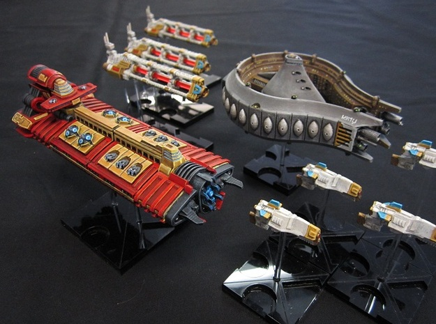 Rushi Battle Carrier - Outer Belt 3d printed with other miniatures for scale