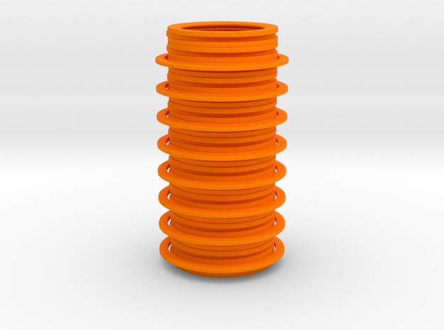 Disc Vase in Orange Processed Versatile Plastic