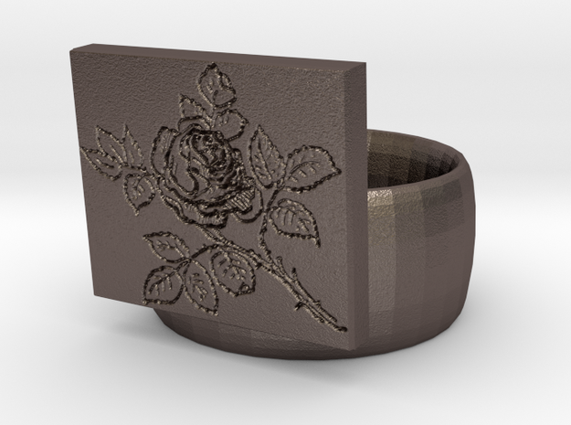 Rose Ring in Polished Bronzed Silver Steel