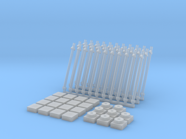 Antena inclinada(x33)+Baldosa1(x16)+placa1(x8) in Smooth Fine Detail Plastic