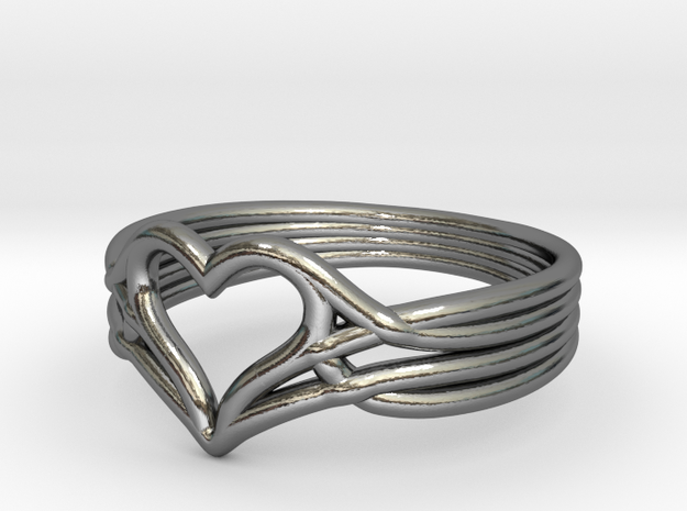 Woven Heart - Smaller (Size 7) in Premium Silver