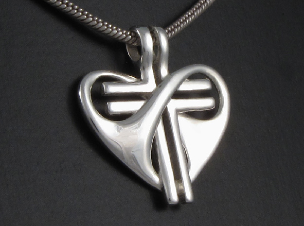 Love and Sacrifice - SMALL in Fine Detail Polished Silver