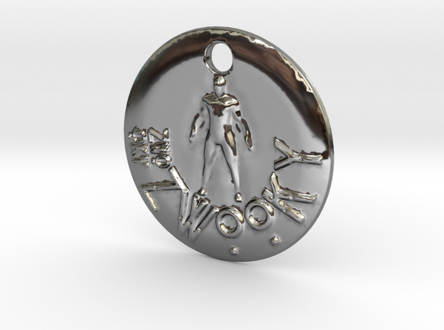 ZWOOKY Style 300 - pendant man in Fine Detail Polished Silver