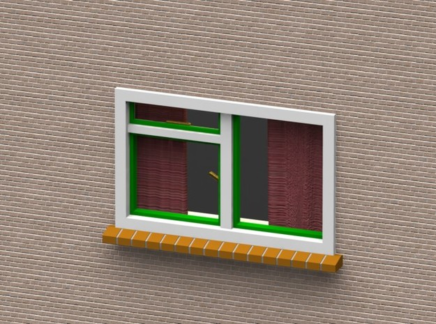 Window with curtains 1:32 1:35 54mm miniature 3d printed