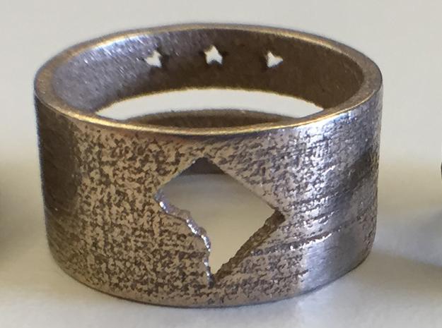 DC Ring with Map (Size 9) in Polished Bronzed Silver Steel