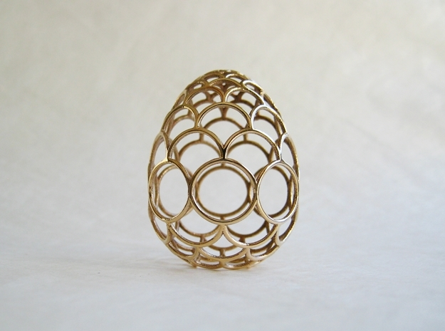 Filigree Egg - 3D Printed in Metal for Easter in Polished Bronze