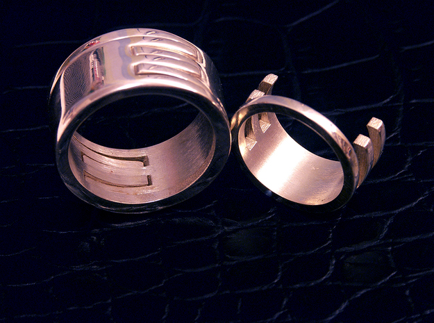 Interlocking Rings (US size 7.5) 3d printed Shown joined and one separate.