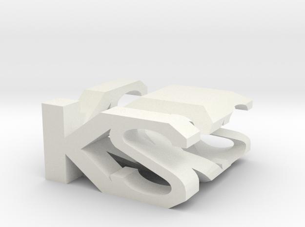 KS Monogram Cube in White Strong & Flexible