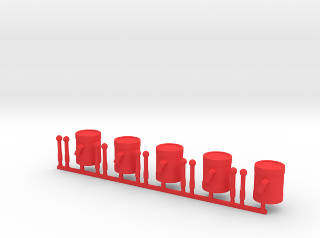 5 x Drums in Red Processed Versatile Plastic