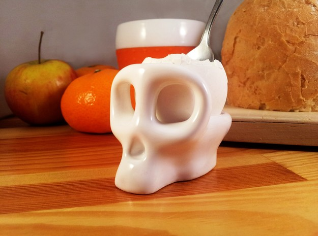 Monkey Skull Egg Cup 3d printed Monkey Brains for breakfast are yum!