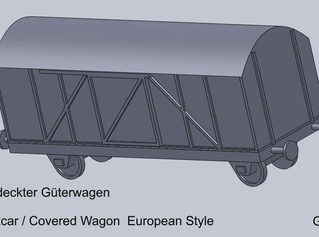 Boxcar / Güterwagen Set of 4 1/285 6mm 3d printed