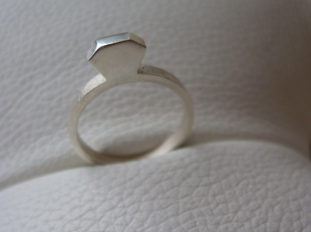 Diamond Ring (Size 7.25~7.75) 3d printed Polished Silver