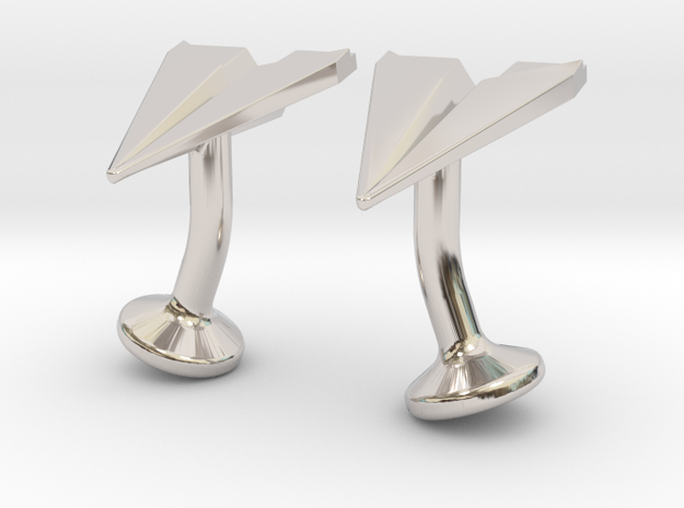 Paper Airplane Cufflinks 3d printed