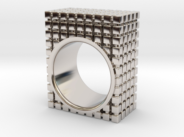 PIXEL RING - SIZE 7 in Rhodium Plated Brass