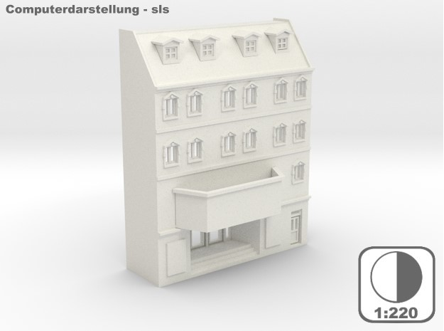Stadthaus Halbrelief 2 - 1:220 (Z scale) in White Strong & Flexible