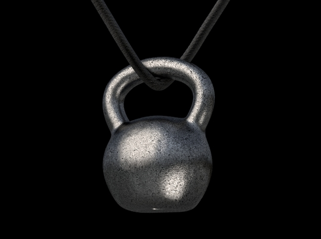 Kettlebell pendant in Polished Bronzed Silver Steel