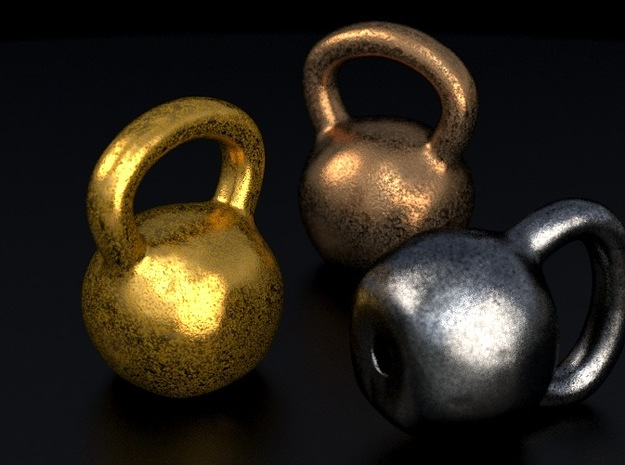 Kettlebell pendant 3d printed This is a 3D render of the model with example texture