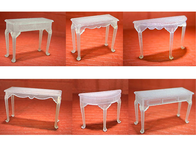 1:48 Queen Anne Table Set in Smooth Fine Detail Plastic