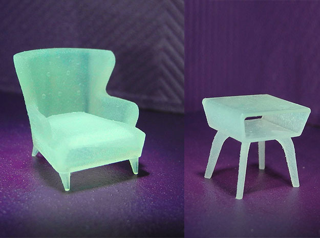 1:48 Wingback Chair Set in Smooth Fine Detail Plastic