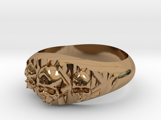Cutaway Ring With Skulls Sz 13 in Polished Brass