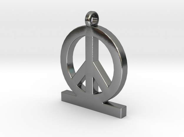 Peace Pendant Women in Polished Silver
