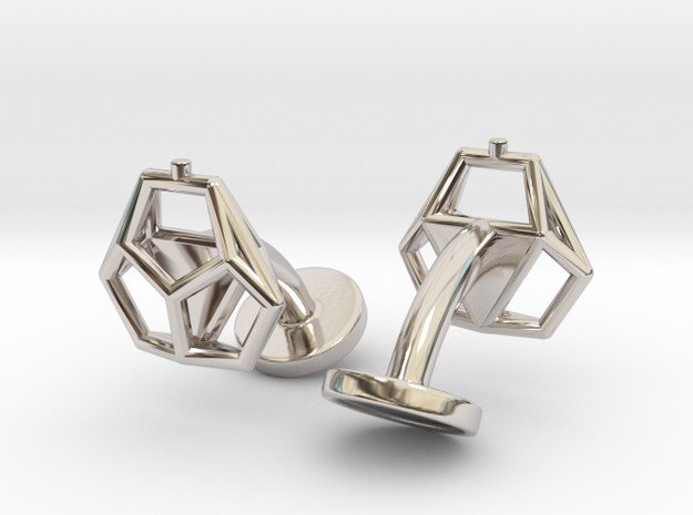 Asp mkII Wireframe Cufflinks in Rhodium Plated Brass