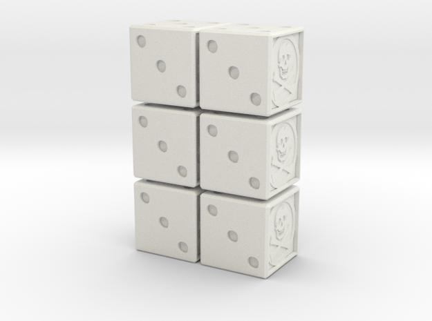 16mm Dice: Jolly Rogers 6 Count (hollow) in White Strong & Flexible
