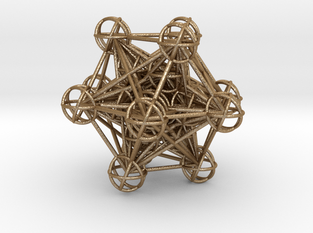 The full 3d Metatrons Cube 59mm Sacred Geometry in Matte Gold Steel