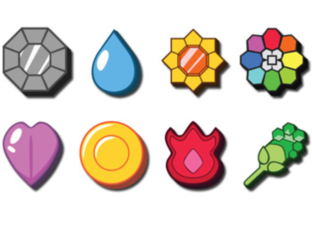 Pokemon Badges in White Natural Versatile Plastic