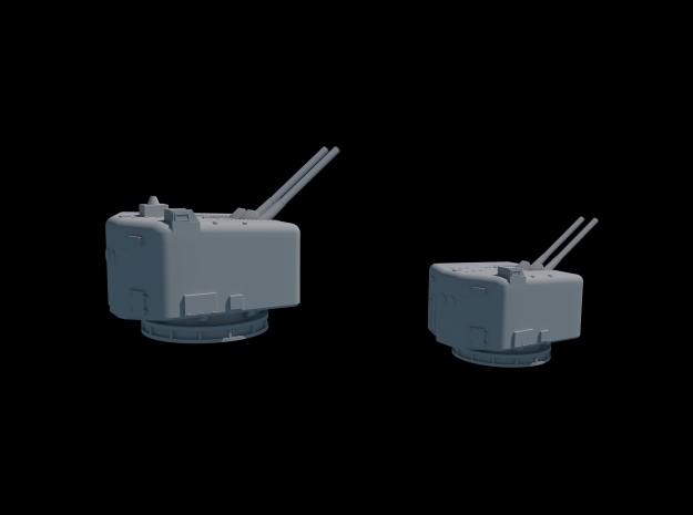 1/350 Scale. Twin 4.5 Mk 6 Naval Guns. Pack of two 3d printed Blender cycles render