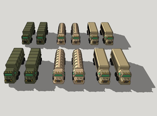 3mm Military Heavy Wheeled Cargo Trucks (12 pcs) in Smooth Fine Detail Plastic