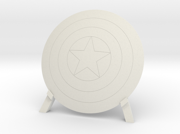 Captain America, Shield & Stand in White Natural Versatile Plastic