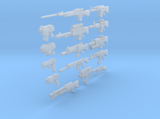 28mm various weapons in Frosted Ultra Detail