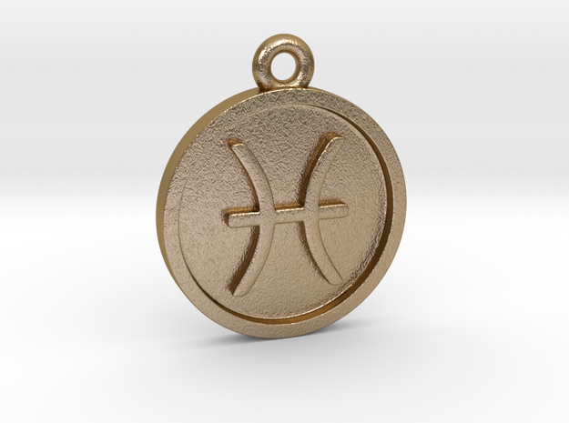 Pisces/Fische Pendant in Polished Gold Steel