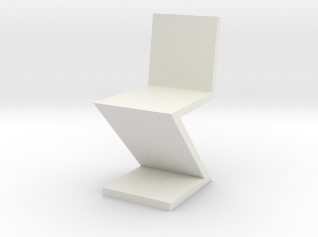 1:24 Zig Zag Chair in White Natural Versatile Plastic