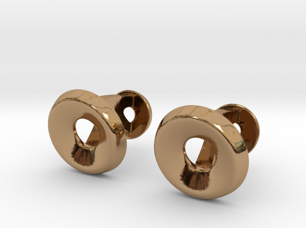 Circle Halo Cufflinks in Polished Brass