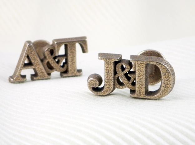 Personalised Initial Cufflinks 3d printed Personalised initial cufflinks - steel